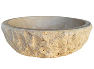 Signature Chiseled Round Natural Stone Sink in Light Travertine