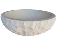 Signature Chiseled Round Natural Stone Sink in Limestone