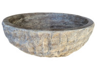 Signature Chiseled Round Natural Stone Sink in Antico Travertine