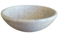 White marble mosaic vessel sink