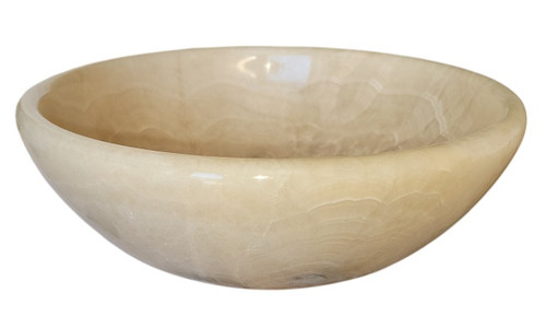 Classic Natural Stone Vessel Sink in White Honey Onyx