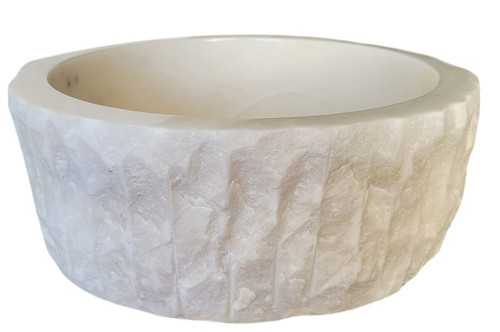 Chiseled Cylindrical Natural Stone Vessel Sink in White Marble