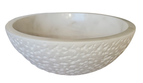 White Marble Chiseled Round Vessel Sink