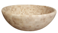 Light travertine mosaic stone vessel sink