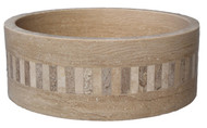 Light travertine with noce mixed mosaic ring
