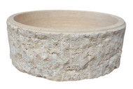 TashMart Chiseled Cylindrical Natural Stone Vessel Sink in Light Travertine
