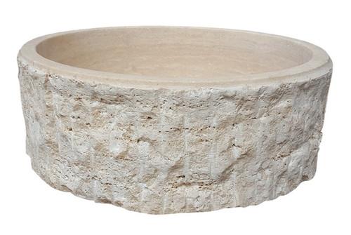 TashMart Chiseled Cylindrical Natural Stone Vessel Sink in Light Travertine
