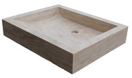 Light travertine rectangular vessel sink