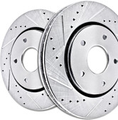 CROSS DRILLED AND SLOTTED BRAKE ROTORS WITH PADS