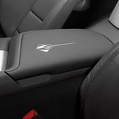 C7 CORVETTE FLOOR CONSOLE LID WITH STINGRAY LOGO SUEDE-GRAY