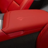 C7 CORVETTE FLOOR CONSOLE LID WITH STINGRAY LOGO SUEDE-RED