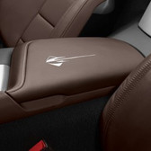 C7 CORVETTE FLOOR CONSOLE LID WITH STINGRAY LOGO SUEDE-BROWNSTONE