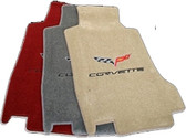 C6 CORVETTE FLOOR MATS WITH C6 EMBLEM AND CORVETTE SCRIPT-POST MOUNT 2005-2007.5