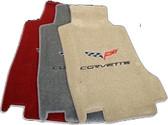 C6 CORVETTE FLOOR MATS WITH C6 EMBLEM AND CORVETTE SCRIPT-HOOK MOUNT 2007.5-2013