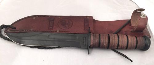 USMC KA-BAR fixed blade knife with brown USMC leather sheath (preowned)
