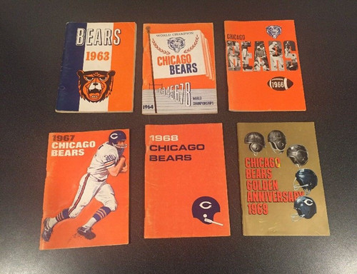LOT OF 6 ORIGINAL CHICAGO BEARS MEDIA GUIDES 1963,1964,,1966,1967,1968,1969