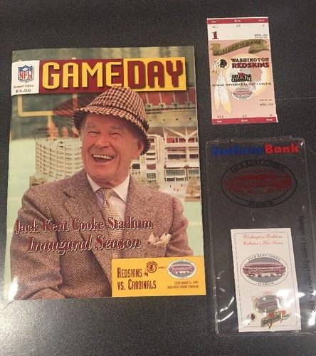 Redskins Jack Kent Cooke Stadium Inaugural Game Day Program, Ticket stub and pin