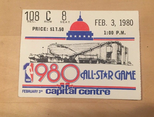 1980 NBA Basketball All Star Game Ticket Stub at Wash. Bullets Capital Centre