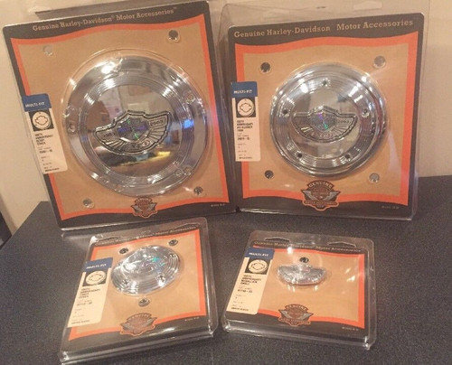 NOS HARLEY-DAVIDSON 100TH ANNIVERSARY DERBY COVER,AIR CLEANER COVER TRIM,TIMER COVER & SMALL MEDALLION