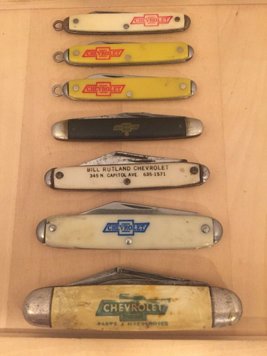 Collection of 7 Vintage Chevrolet Chevy Advertisement pocket knives shopthegarage