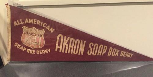 RARE Original 1948 All American Soap Box Derby Akron Ohio Pennant 29 inch, shopthegarage