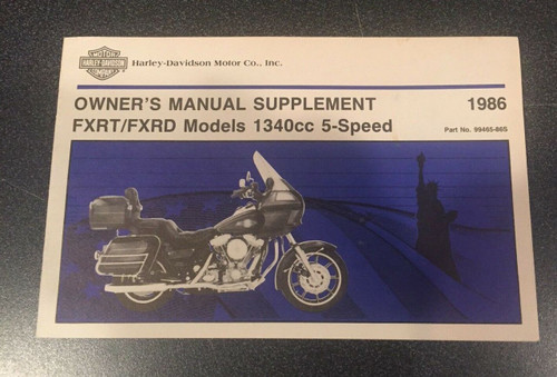 ORIGINAL HARLEY-DAVIDSON 1986 FXRT FXRD OWNERS MANUAL SUPPLEMENT