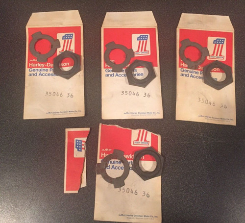 4 SETS OF NOS OEM Harley-Davidson 35046-36 4 SPEED TRANS MAINSHAFT NUT & WASHERS shopthegarage