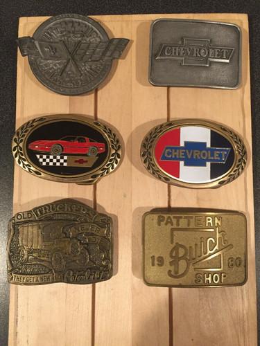 Lot of 6 Vintage Chevrolet , Peterbilt & Buick Belt Buckles Corvette and More !! shop the garage