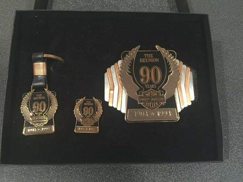 Rare Harley Davidson 90th Anniversary Belt Buckle key Fob & Pin set 99210-93Z