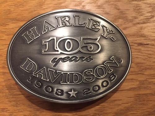Harley-Davidson 105th Anniversary oval belt buckle # 96956-08vm, shop the garage, cool into cash, Bingo's Swap Meet Garage