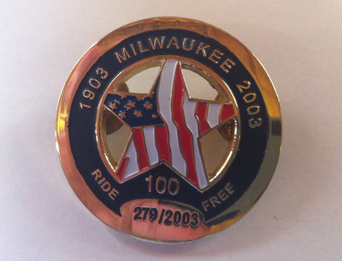 1903 Milwaukee 2003 100  Ride Free Circle pin,limited edition # 279/2003 (USED)