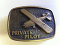 Vintage (1978)  BTS solid brass Private Pilot belt buckle (FRONT)