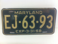 1958 Maryland green metal license plate EJ-63-93 (single)
