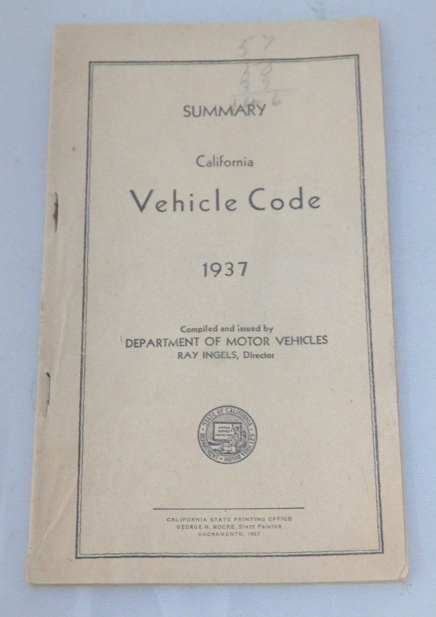 Original 1937 California Vehicle Code book