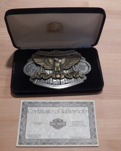 Vintage 1986 Harley-Davidson limited edition #728/3000 50th Anniversary of the OHV V-Twin Engine Belt Buckle with COA