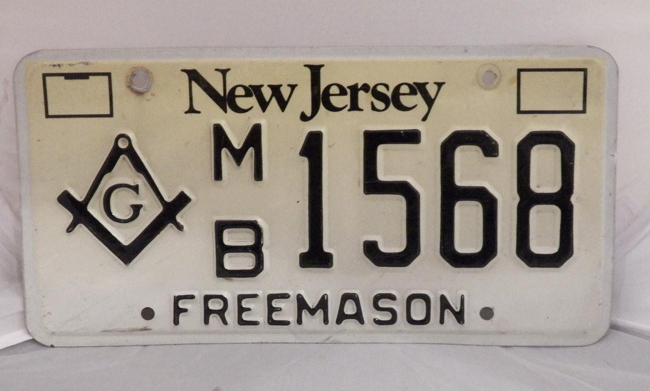 New Jersey Masonic Freemason license plate MB 1568 (single)