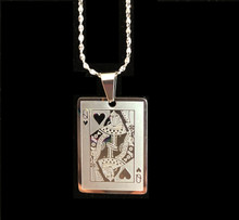 "Queen of Hearts stainless steel pendant.  Includes a 20"" silver plate twisted nugget chain."