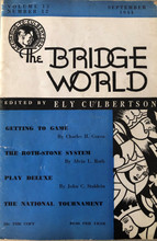 September 1944 Bridge World, fair condition.