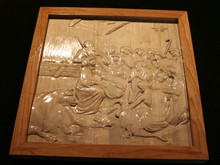 "3D Nativity Scene 18""x18"" (with contrasting hardwood border/frame)"