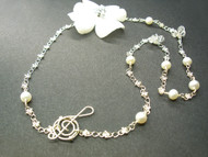 Music Sterling Silver Necklace Real Pearls Swarovski Crystals Bridal