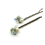Hair Pins Freshwater Pearls Black Diamond Swarovski Crystals 2 Set White Blue