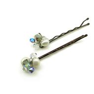 Hair Pins Freshwater Pearls Black Diamond Swarovski Crystals 2 Set White Blue