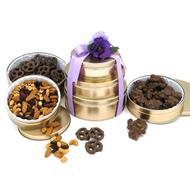 3 Tier Golden Kosher Tower Kosher Purim Gift Set- Free Shipping