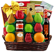 A Jerusalem Wine, Fruit & Kosher Food Purim Gift Basket