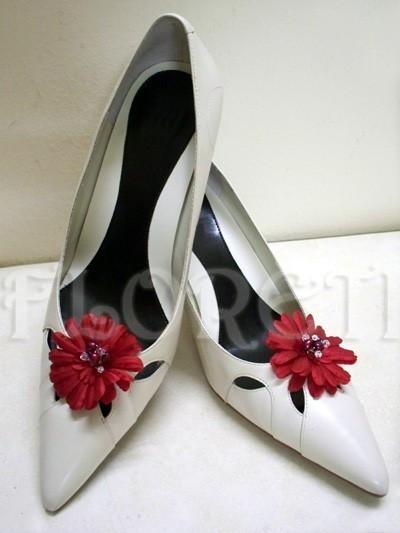 Red Gerbera Daisy Wedding Shoe Clips Pearl Swarovski Bridal Jewelry
