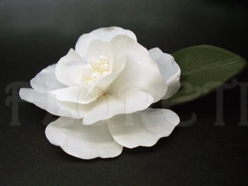Bridal Small White Magnolia Hair Clip Handmade Silk Flower Couture Wedding Hair Accessory