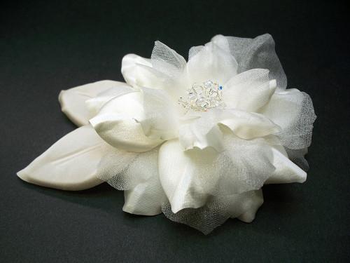 Antique White Camellia Bridal Wedding Dress Flower Leaves Swarovski