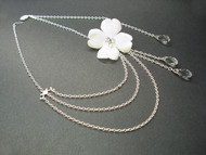Aphrodite Flower Bridal Necklace Swarovski Briolette Pendants