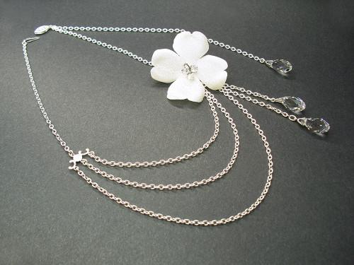 Aphrodite Flower Bridal Necklace Swarovski Briolette Pendants
