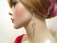 Birch Earrings Dangle Crystal Sterling Silver Wrapped Bridal Jewelry